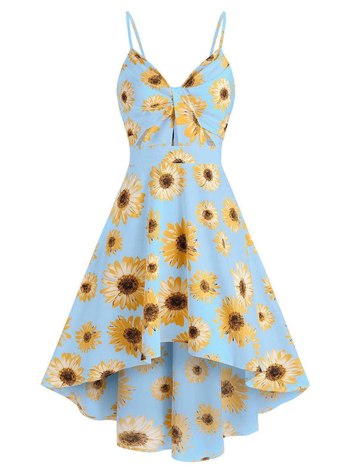 Spaghetti Strap Sunflower Print High Low Dress фото