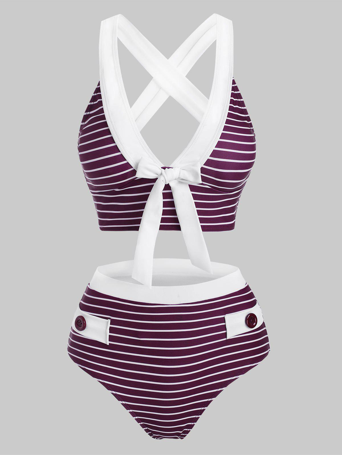Buy Striped Button Embellished Criss Cross Bowknot Tankini Swimwear