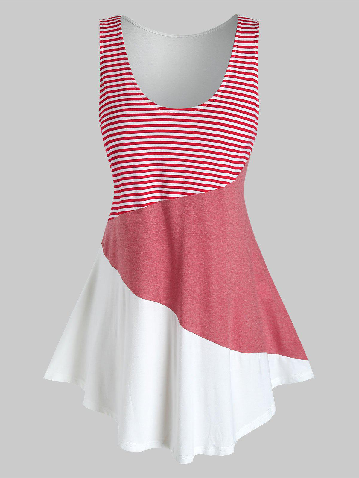 Shops Plus Size Striped Color Blocking Contrast Tunic Tank Top