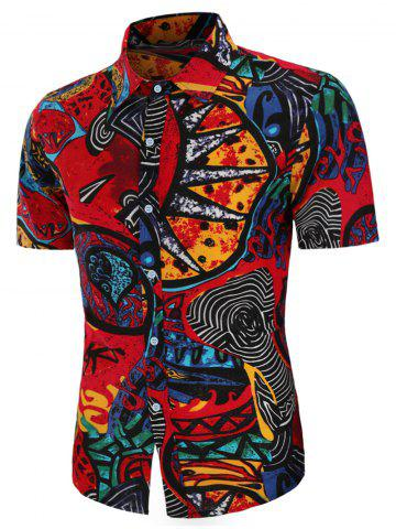 Abstract Tribe Print Linen Button Up Shirt - MULTI - XS
