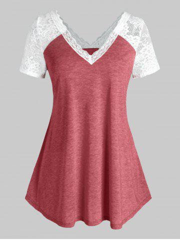 Plus Size Raglan Sleeve Lace V Neck T Shirt