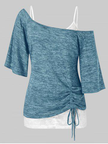 Plus Size Space Dye Cinched Tee and Cami Lace Top Set - BLUE IVY - L