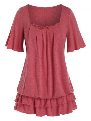 Plus Size Frilled Layered Flounce Flutter Sleeve Blouson Tee - CHERRY RED - 2X
