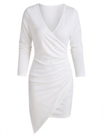 Asymmetric Ruched Surplice Sheath Dress