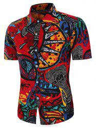 Abstract Tribe Print Linen Button Up Shirt -