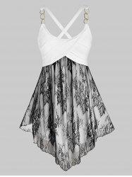 Plus Size Chain Strap Sheer Lace Panel Criss Cross Tank Top -