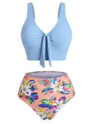 Tropical Flower Ribbed Tied Plunging Tankini Swimwear -
