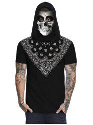 Bandana Skull Print Mask Hooded T-shirt -