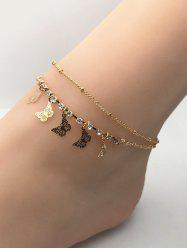 Butterfly Charm Rhinestone Double Layer Chain Anklets -