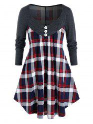 Plus Size Plaid Mock Button Curved Tunic Tee -