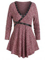Grommet Tape Ribbed Marled Gothic Sweater -