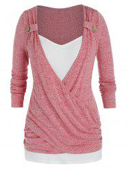 Plus Size Crossover Draped Ruched Tunic Sweater -