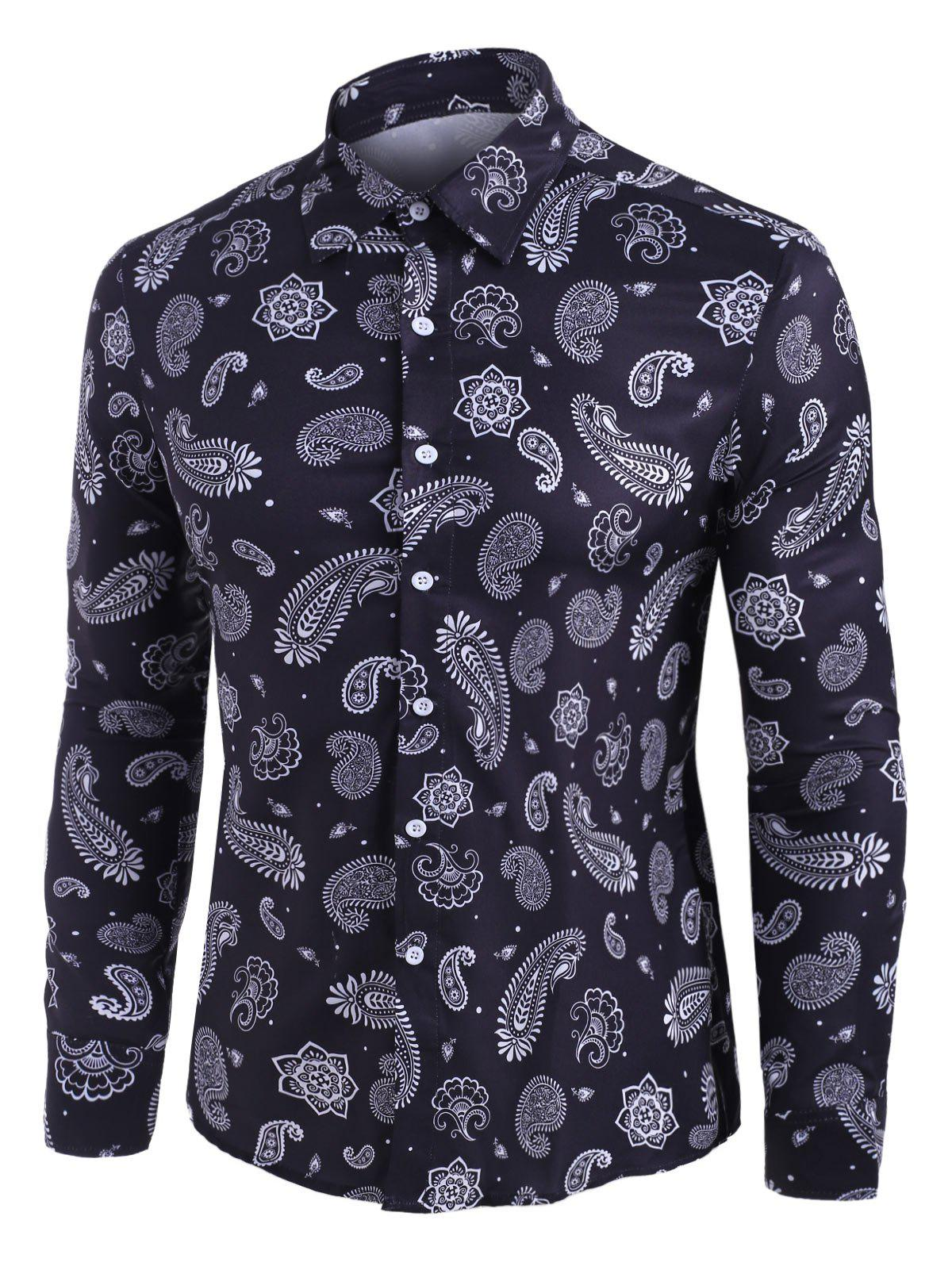 Paisley Print Long Sleeve Button Up Shirt фото