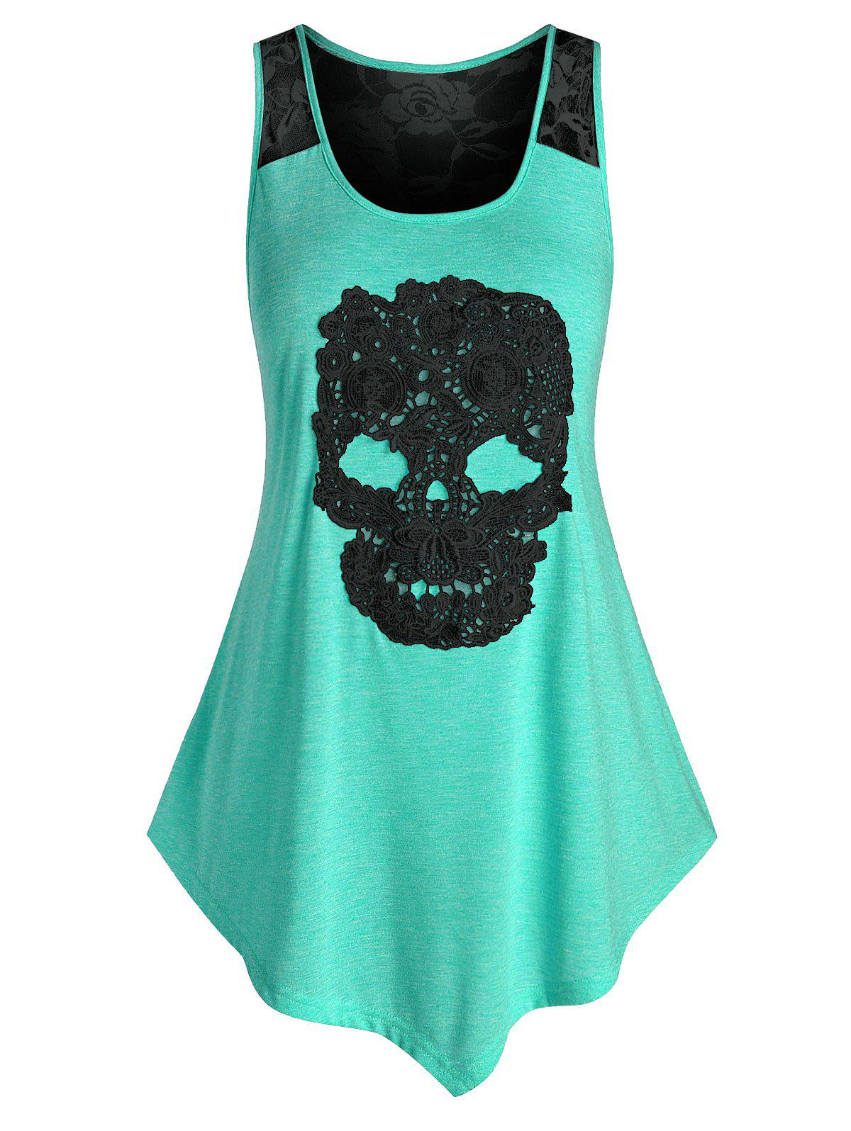 Outfit Plus Size Asymmetric Lace Skull Tank Top
