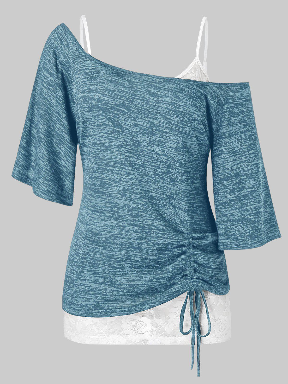 Discount Plus Size Space Dye Cinched Tee and Cami Lace Top Set