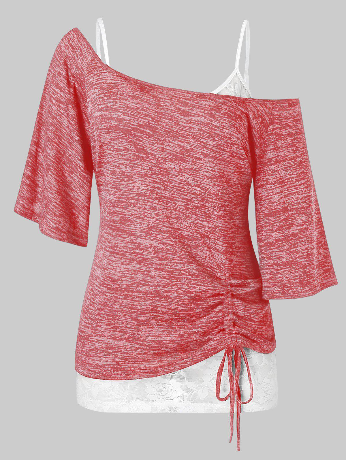 Plus Size Space Dye Cinched Tee and Cami Lace Top Set фото