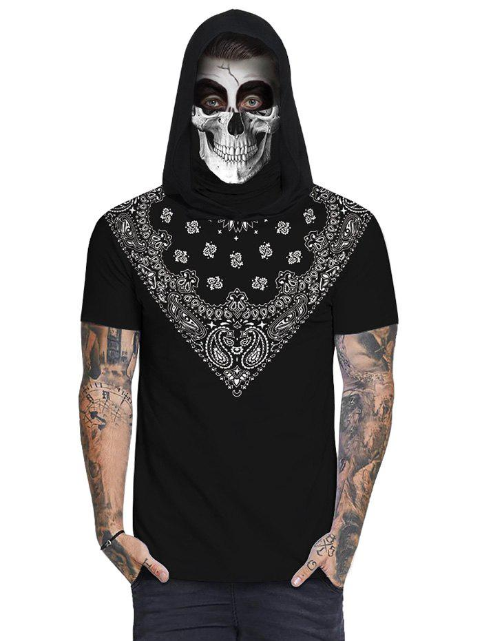 Sale Bandana Skull Print Mask Hooded T-shirt