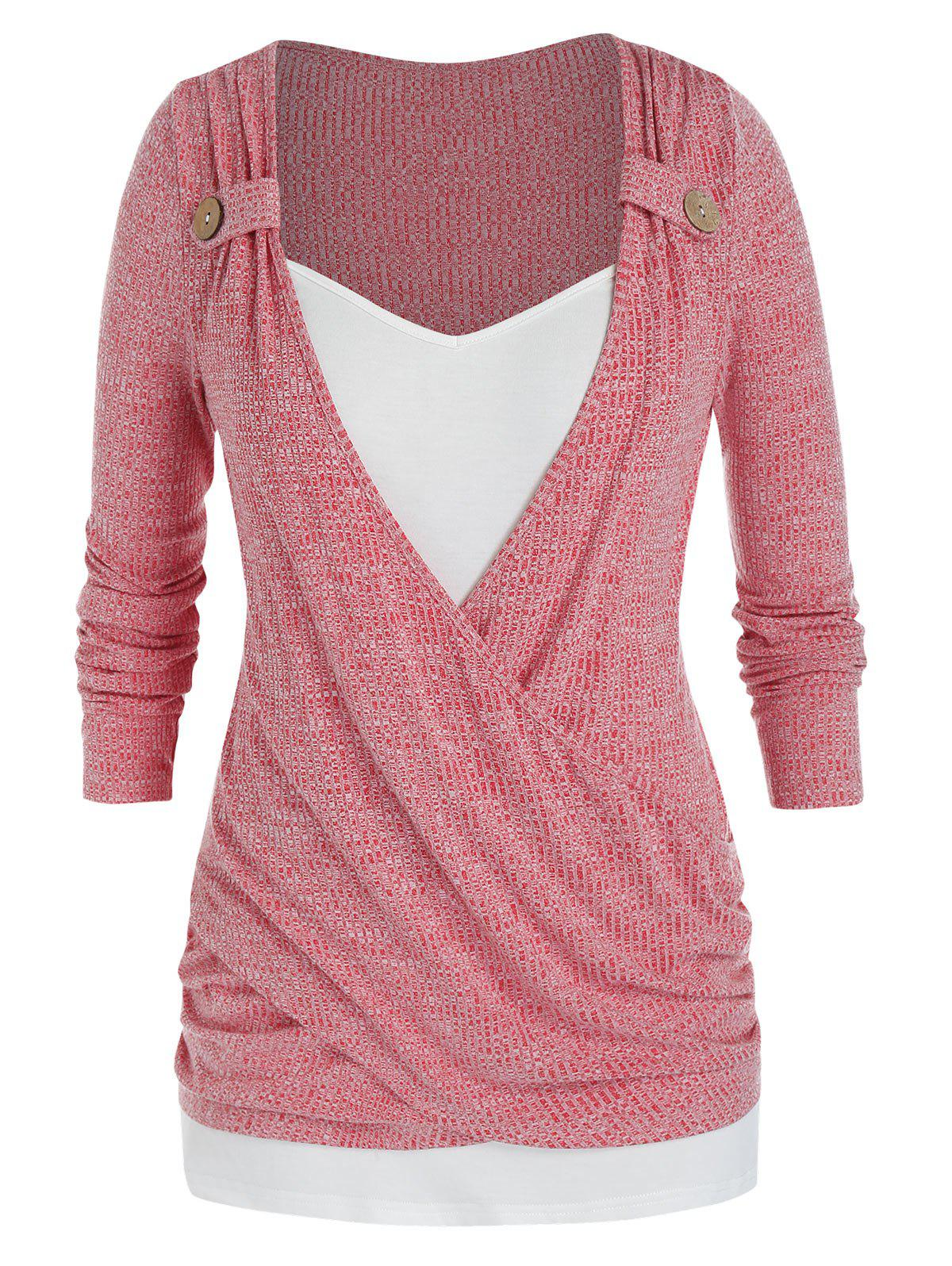 Trendy Plus Size Crossover Draped Ruched Tunic Sweater