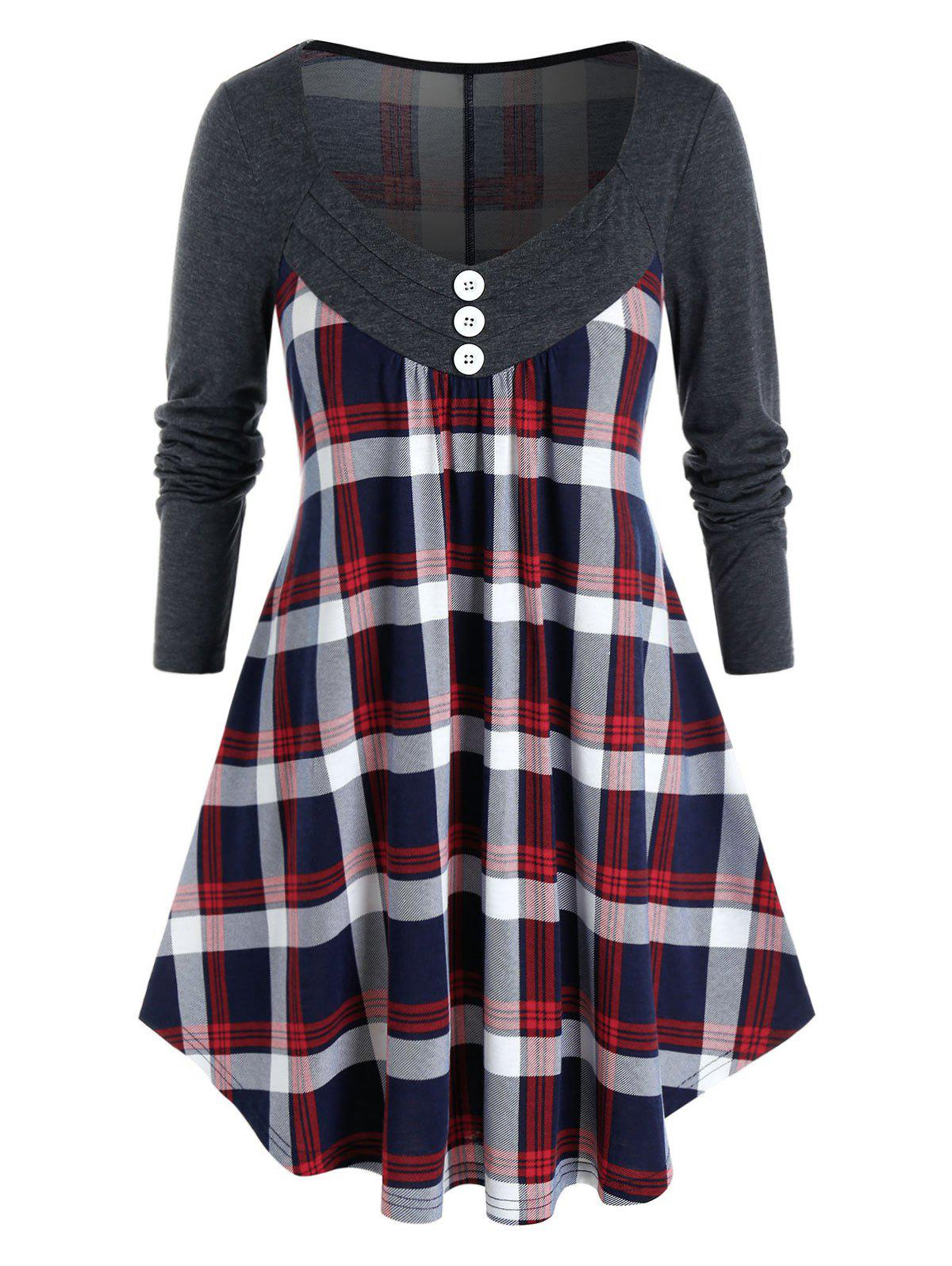 Online Plus Size Plaid Mock Button Curved Tunic Tee