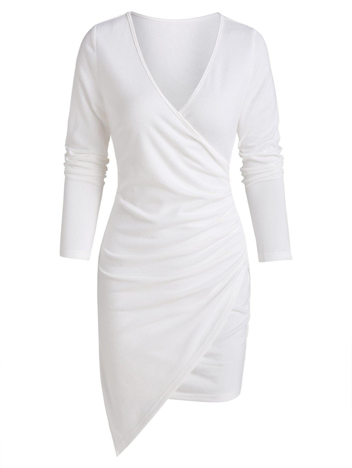 Outfit Asymmetric Ruched Surplice Sheath Dress