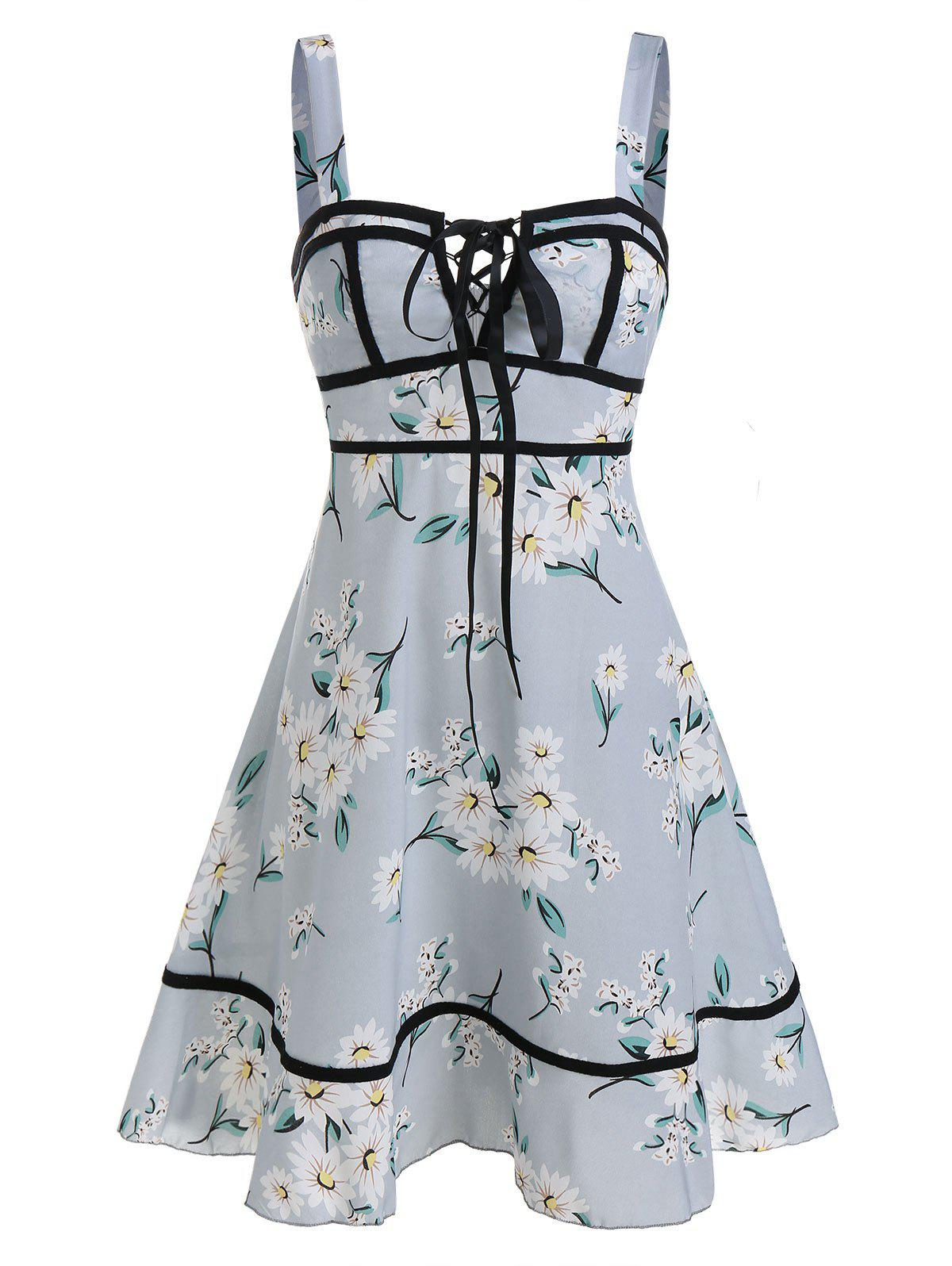 Outfits Sleeveless Flower Print Lace-up Flare Dress