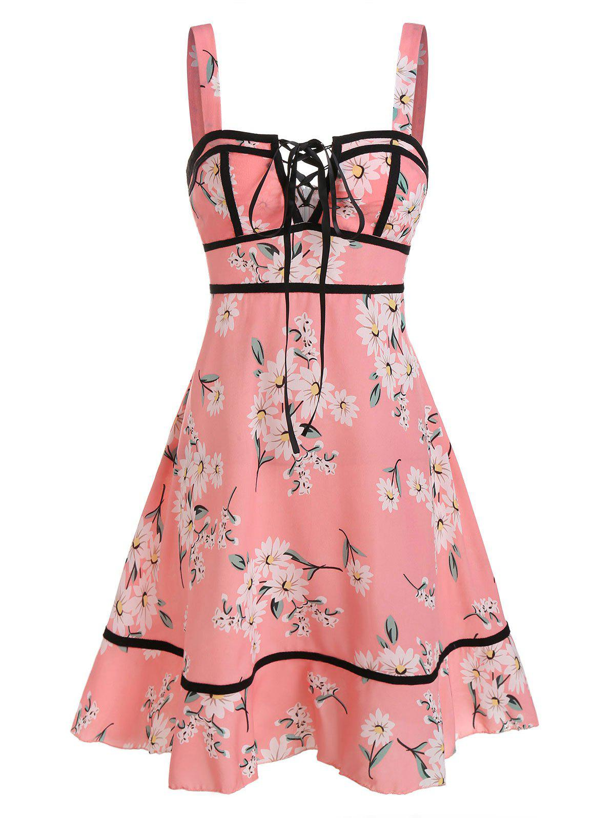 New Sleeveless Flower Print Lace-up Flare Dress