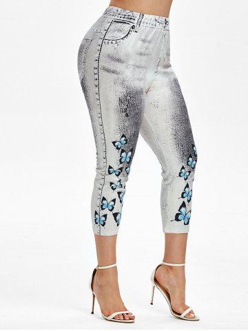 Plus Size 3D Denim Butterfly Print Capri High Rise Jeggings