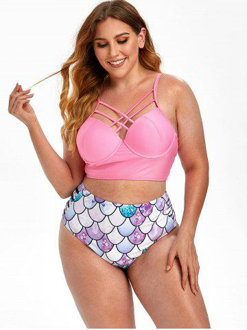 Plus Size Criss Cross Scale Print Mermaid Push Up Bikini Swimsuit