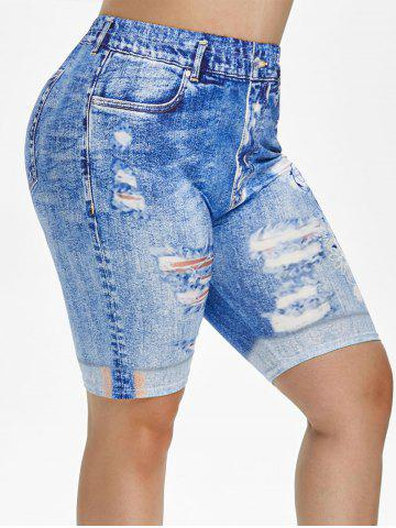 Plus Size 3D Ripped Print Knee Length Jeggings - BLUE - 4X
