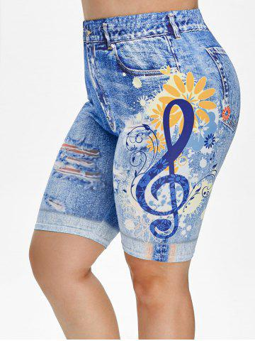 Plus Size 3D Ripped Print Knee Length Jeggings
