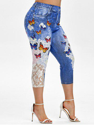 Plus Size Butterfly Print Floral Cropped Jegging