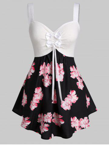 Plus Size Flower Print Bowknot Backless Curved Tank Top
