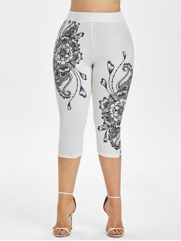 Plus Size Flower Print High Waisted Capri Leggings - WHITE - 2X