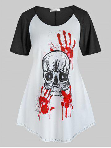 Plus Size Halloween Skull Bloody Hands Print T Shirt - BLACK - 2X