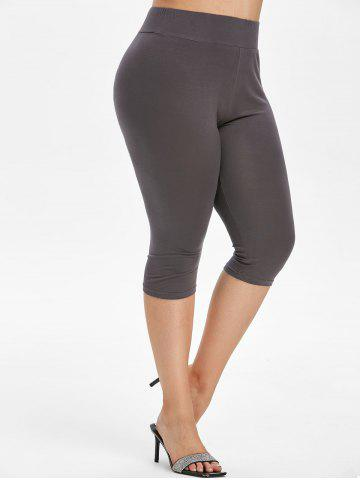 High Waisted Moon Printed Plus Size Capri Leggings - GRAY - 2X