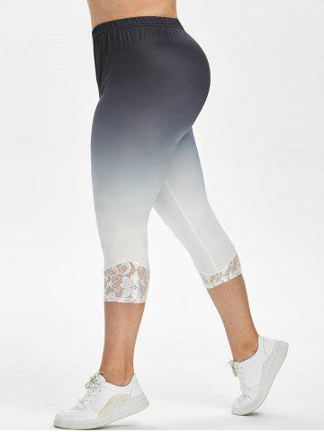 High Waisted Lace Panel Ombre Plus Size Capri Leggings