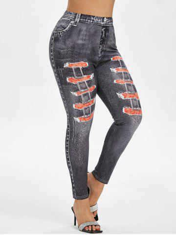 Plus Size 3D Distressed Print High Waisted Jeggings - BLACK - 5X