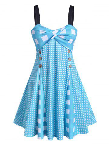 Plus Size Checked Front Twist Dress