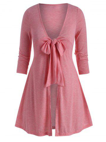 Plus Size Plunge Front Tie Long Tunic Tee - LIGHT PINK - 2X