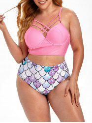 Plus Size Criss Cross Scale Print Mermaid Push Up Bikini Swimsuit -