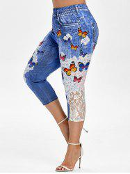 Plus Size Butterfly Print Floral Cropped Jegging -