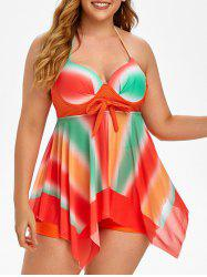 Plus Size Mesh Tie Dye Handkerchief Backless Tankini Swimwear -