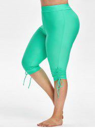 Plus Size Cinched Capri Swim Pants -