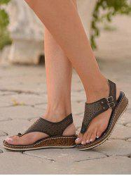 Hollow Out Low Wedge Thong Sandals -