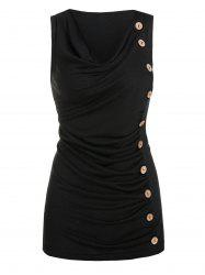 Ruched Mock Button Tank Top -