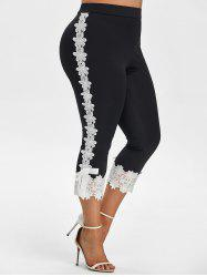 Plus Size Flower Applique Bowknot Capri High Rise Pants -