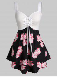 Plus Size Flower Print Bowknot Backless Curved Tank Top -