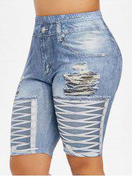 Plus Size 3D Print High Waisted Skinny Shorts -