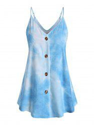 Tie Dye Button Up Plus Size Cami Top -