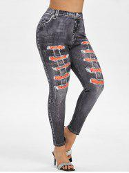 Plus Size 3D Distressed Print High Waisted Jeggings -